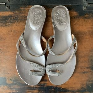 Vince Camuto silver flat sandals